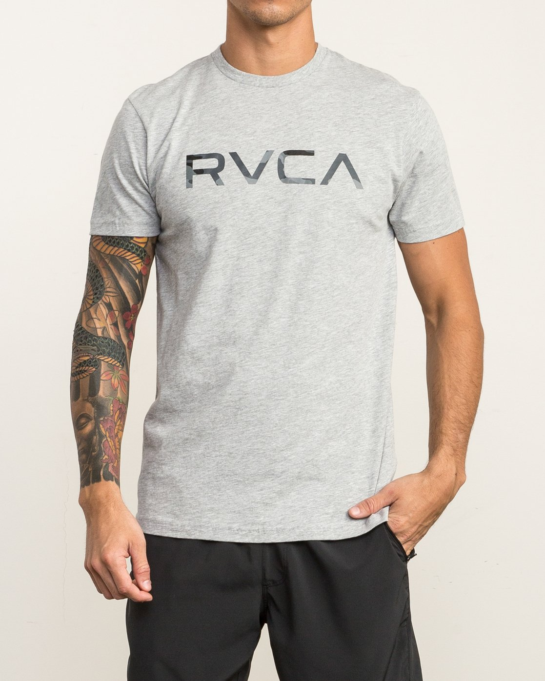 2 Big RVCA Sport T-Shirt Grey V402SRBI RVCA