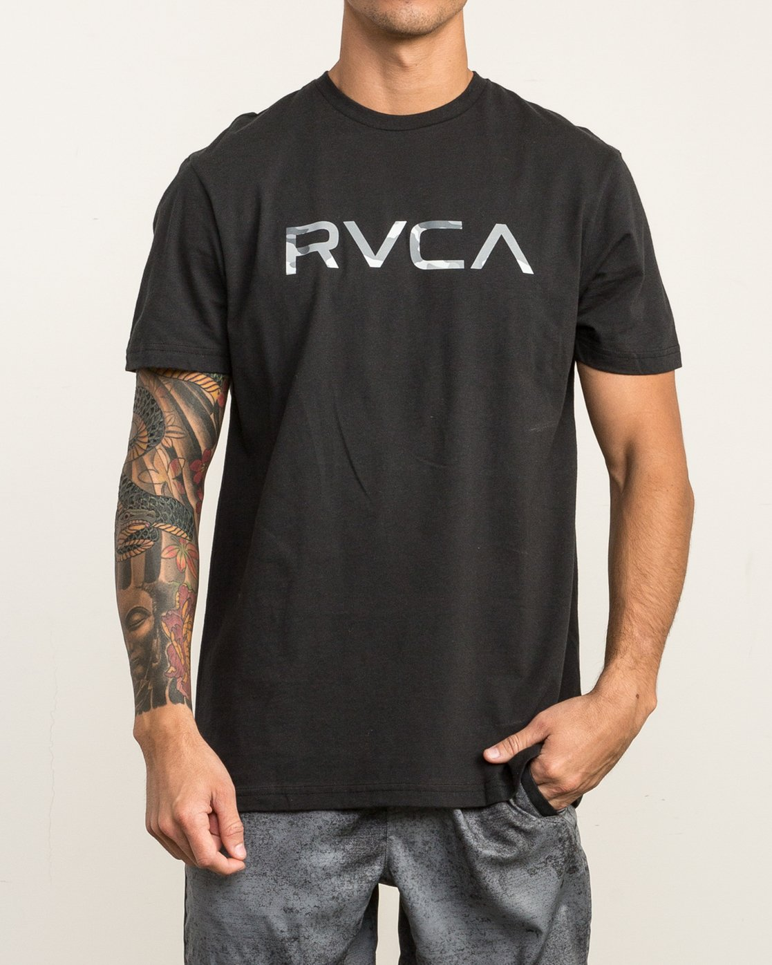 2 Big RVCA Sport T-Shirt Black V402SRBI RVCA