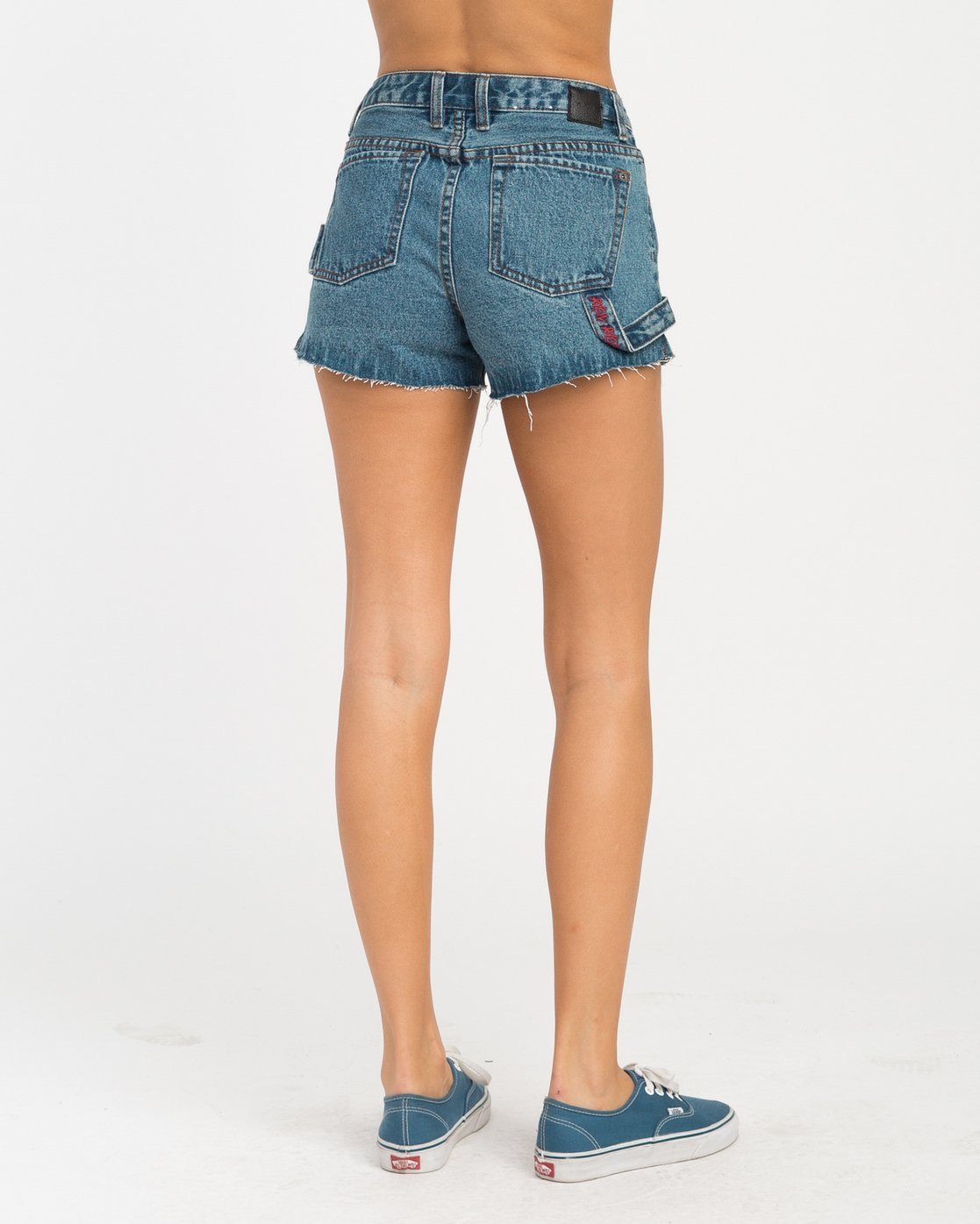 3 Highly Werked High Waist Denim Shorts Blue W203NRHW RVCA