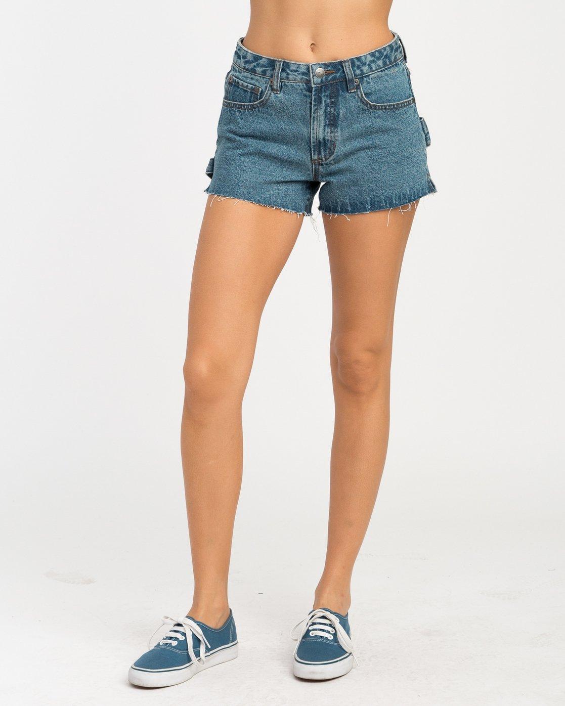 1 Highly Werked High Waist Denim Shorts Blue W203NRHW RVCA