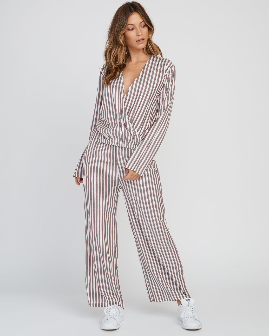 6 Manna Striped High Rise Pants Pink W302SRMA RVCA