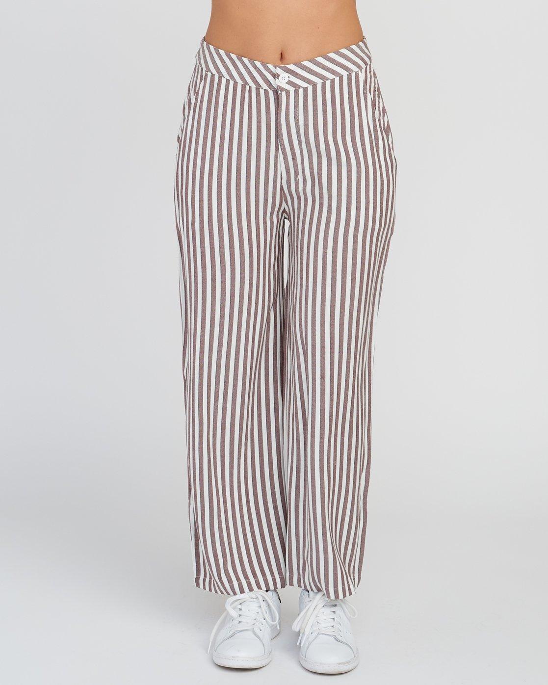 1 Manna Striped High Rise Pants Pink W302SRMA RVCA
