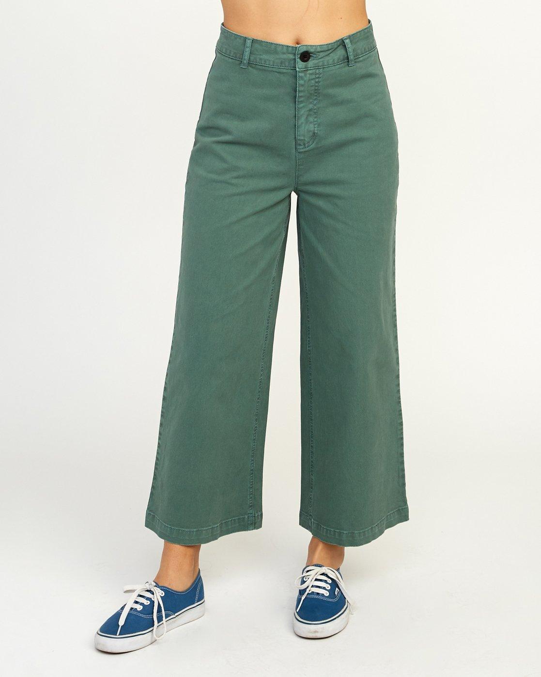 2 Niku High Waist Cropped Trouser Green W303TRNI RVCA