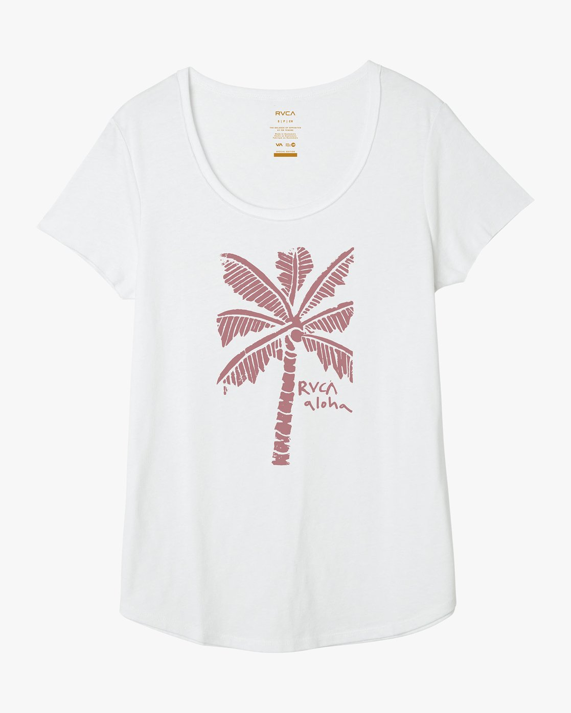 4 Oblow Palm Scoop Neck T-Shirt White W401QROS RVCA