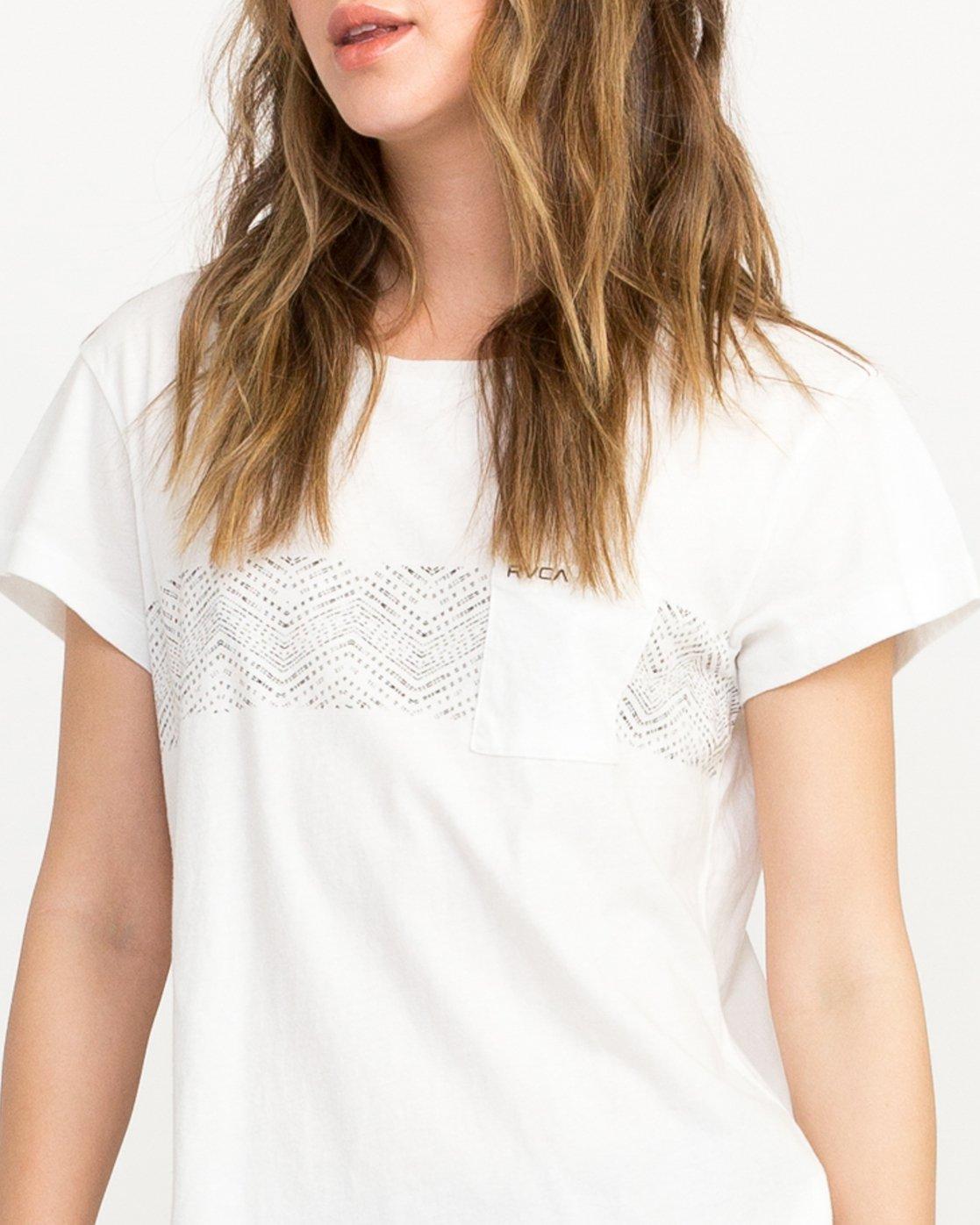 3 Zig Print Pocket T-Shirt White W404QRZI RVCA