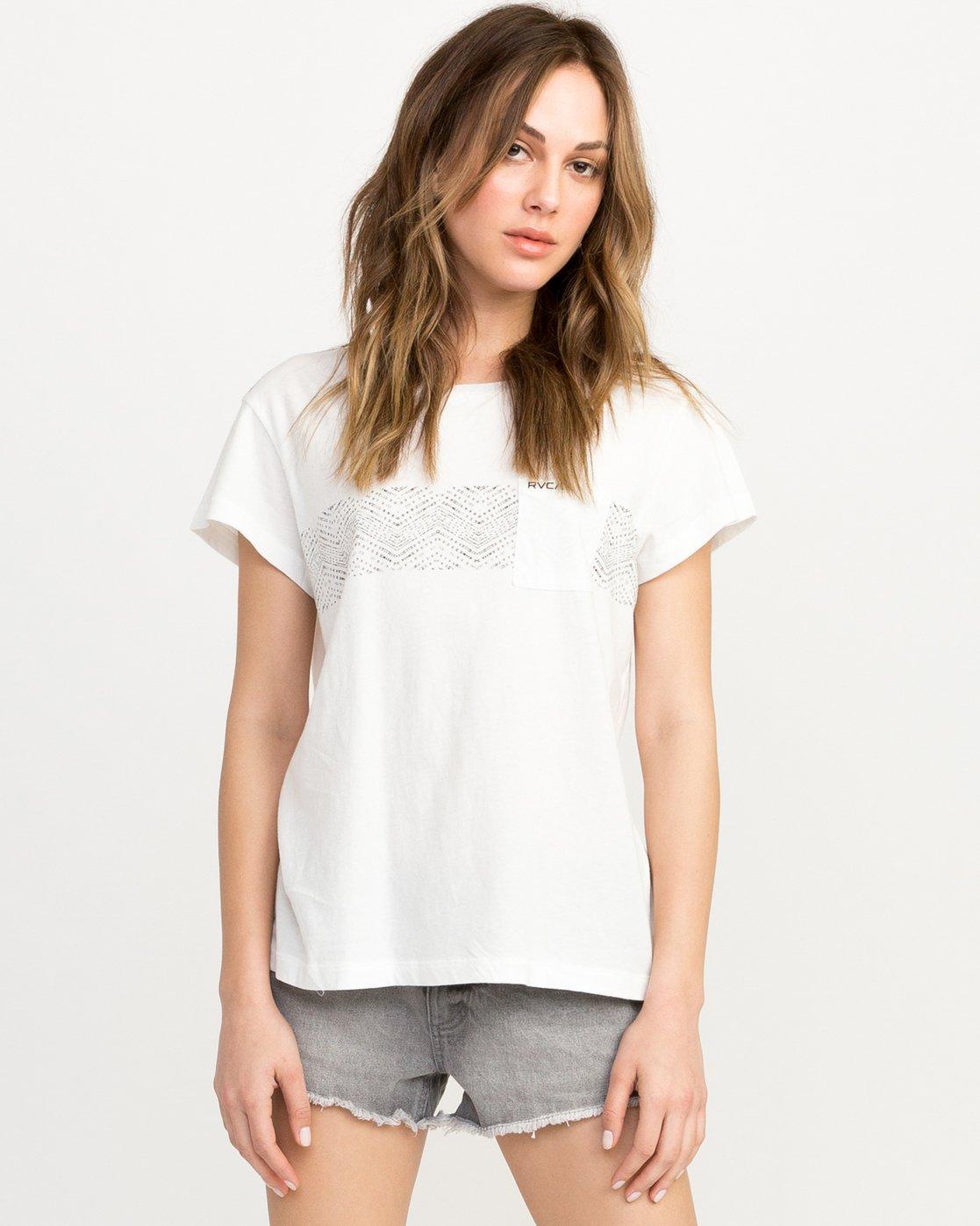 0 Zig Print Pocket T-Shirt White W404QRZI RVCA