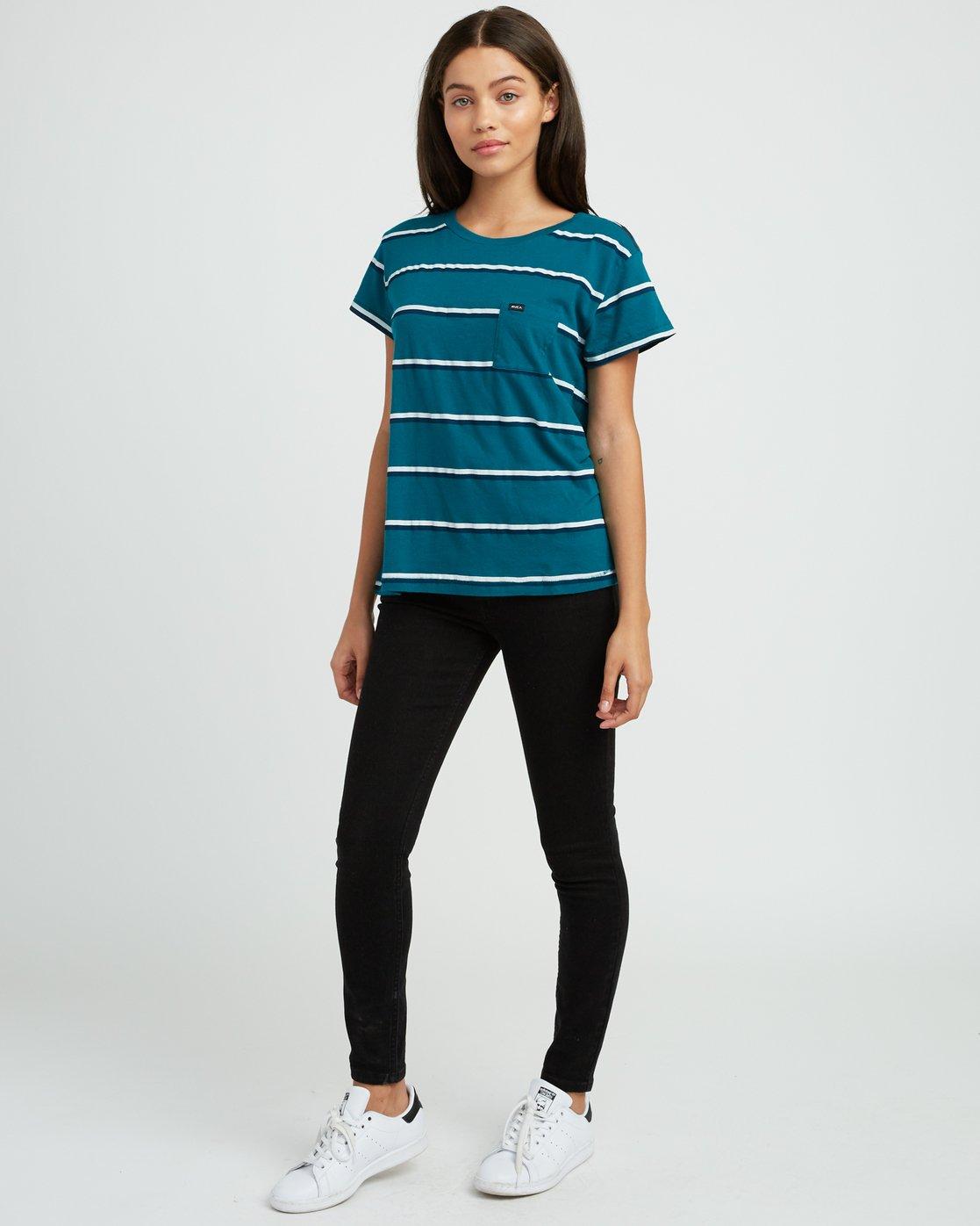 4 Big Stripe Pocket T-Shirt Multicolor W404SRBI RVCA