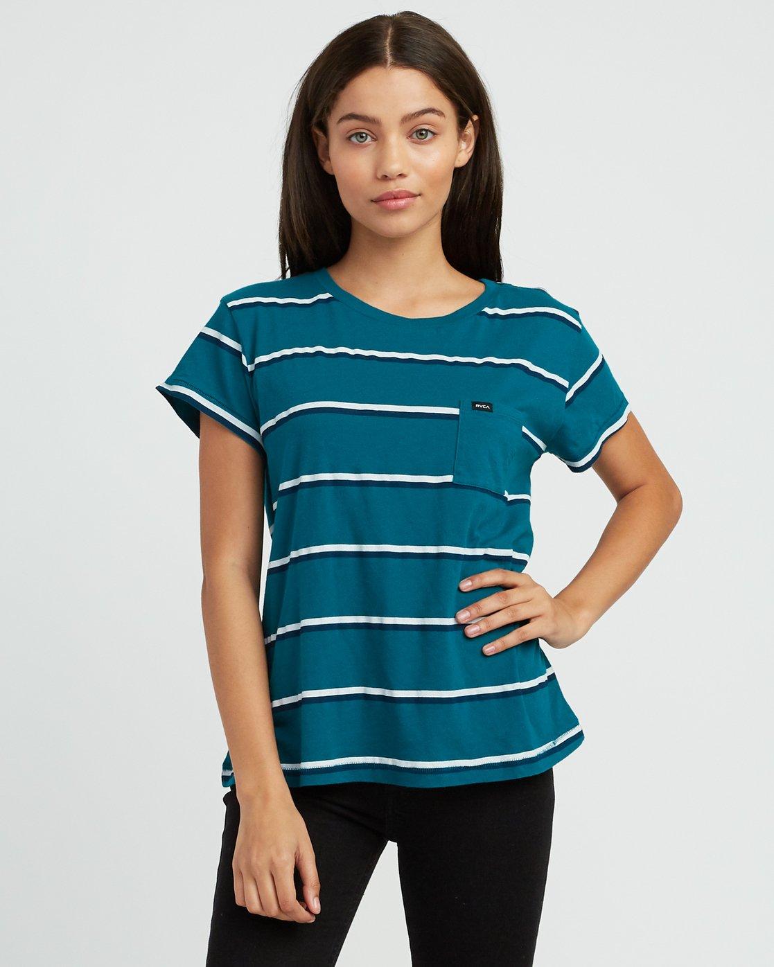 0 Big Stripe Pocket T-Shirt Multicolor W404SRBI RVCA