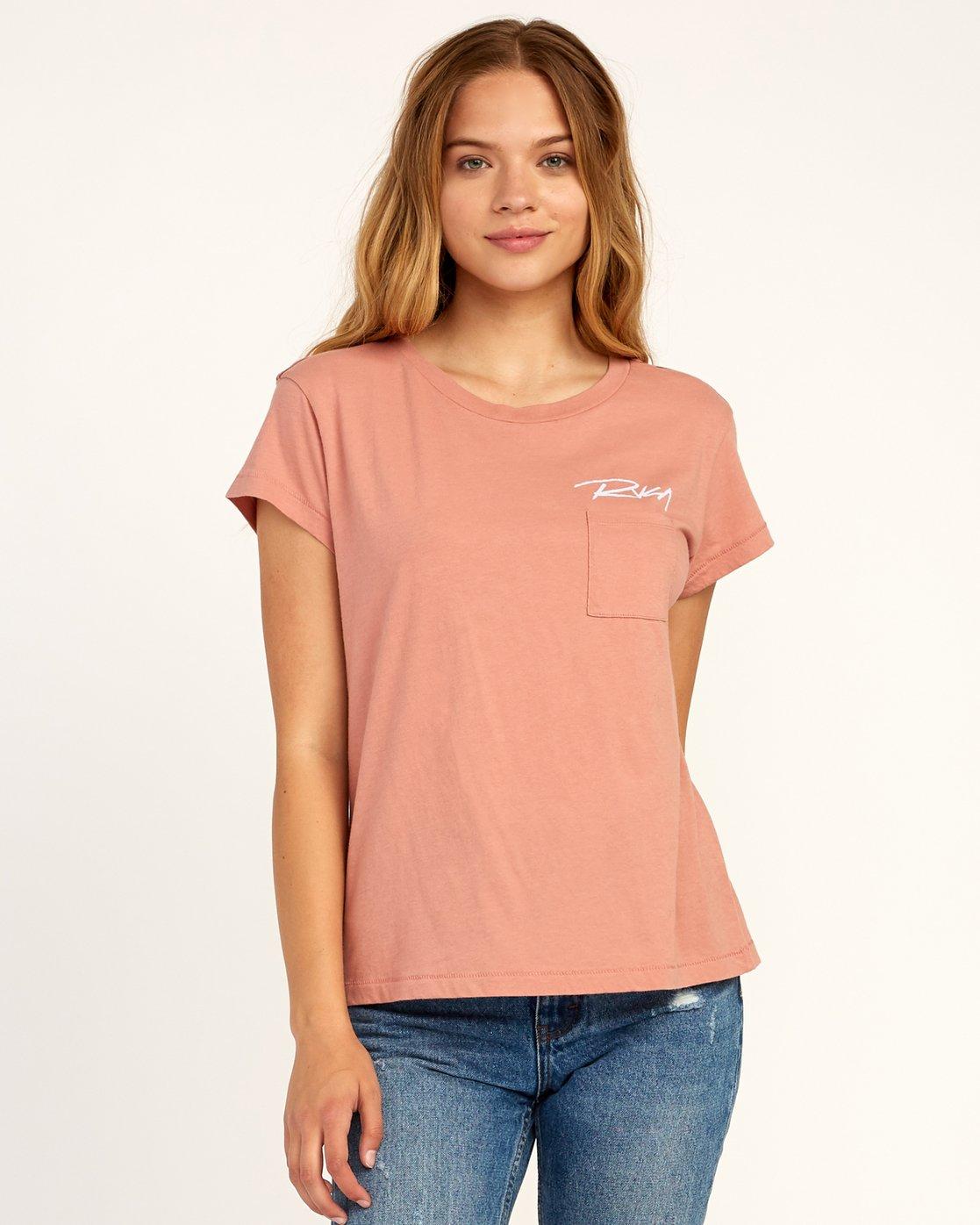 0 Fast Script T-Shirt Brown W404TRFA RVCA