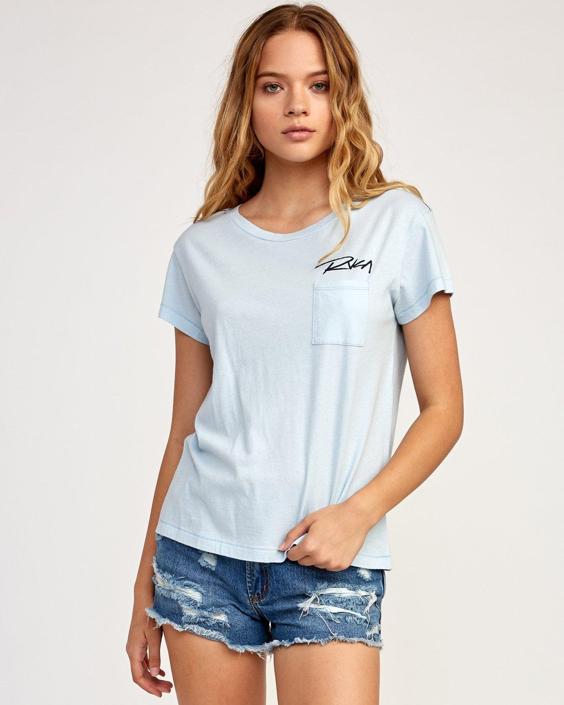 1 Fast Script T-Shirt Blue W404TRFA RVCA