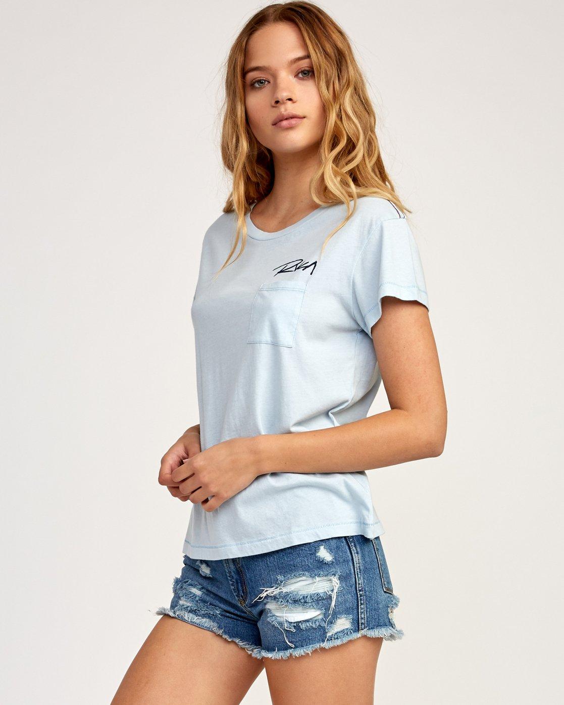 2 Fast Script T-Shirt Blue W404TRFA RVCA