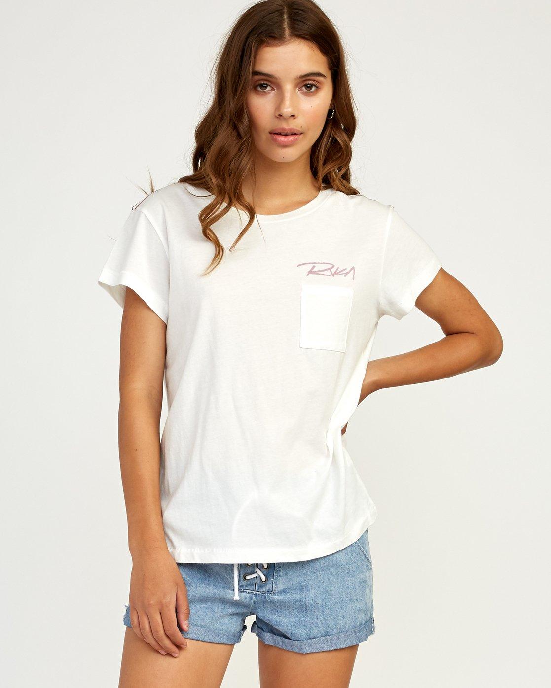 0 Fast Script T-Shirt White W404TRFA RVCA
