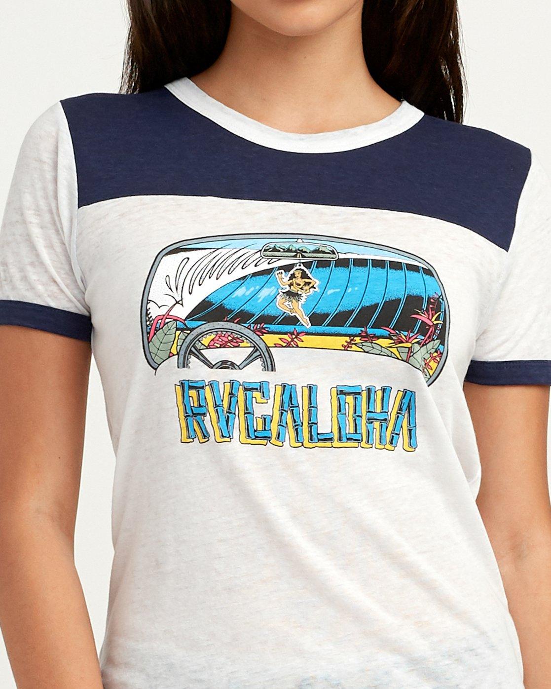 3 RVCAloha Dmote Ringer T-Shirt White W410QRDS RVCA
