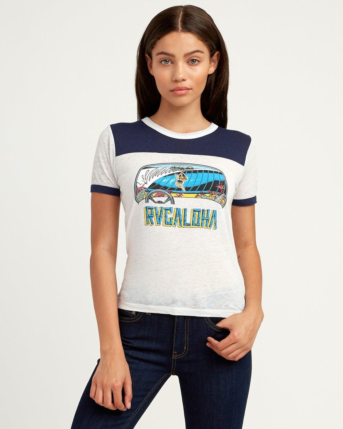 0 RVCAloha Dmote Ringer T-Shirt White W410QRDS RVCA