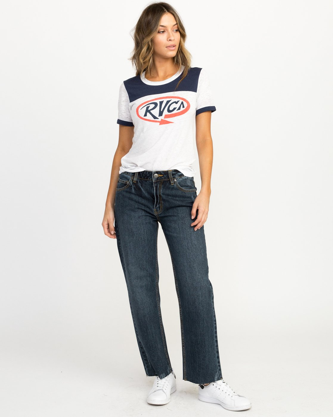 4 Looped Ringer T-Shirt Blue W410QRLO RVCA