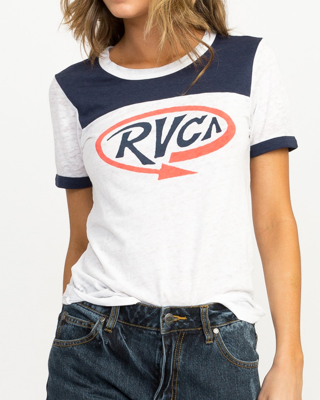 3 Looped Ringer T-Shirt Blue W410QRLO RVCA