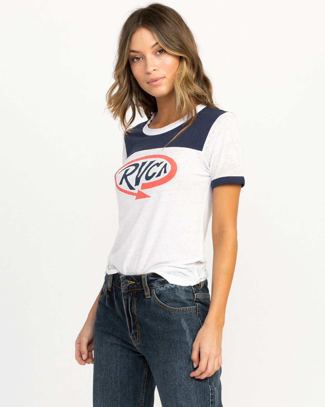 1 Looped Ringer T-Shirt Blue W410QRLO RVCA