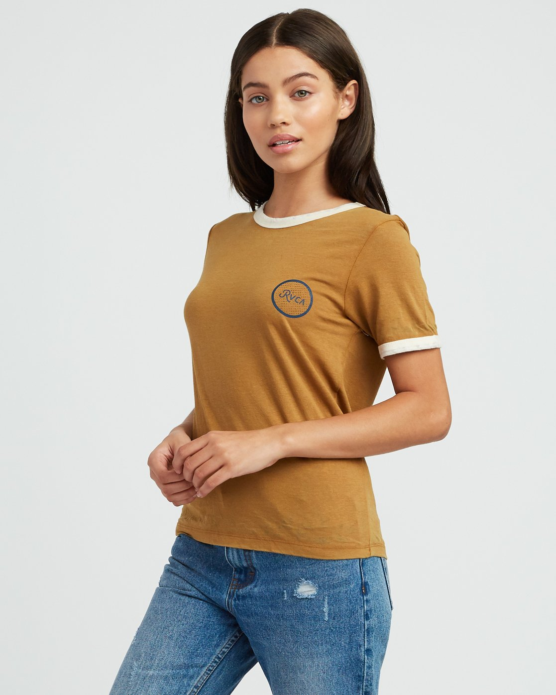 1 Pixel Script Burnout Ringer T-Shirt Yellow W410SRPI RVCA