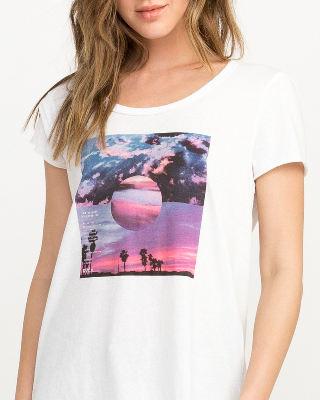 3 Refraction Scoop Neck T-Shirt White W417QRRE RVCA