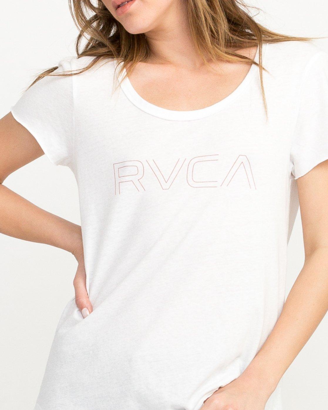 3 Pinner Scoop Neck T-Shirt White W417QRRV RVCA