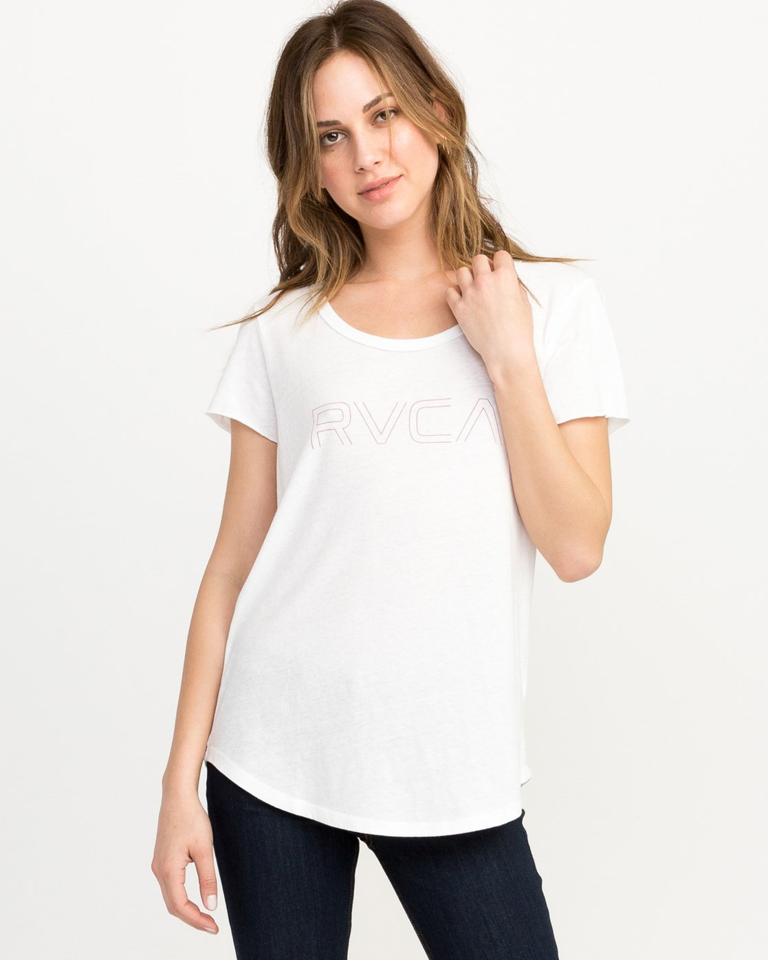 0 Pinner Scoop Neck T-Shirt White W417QRRV RVCA