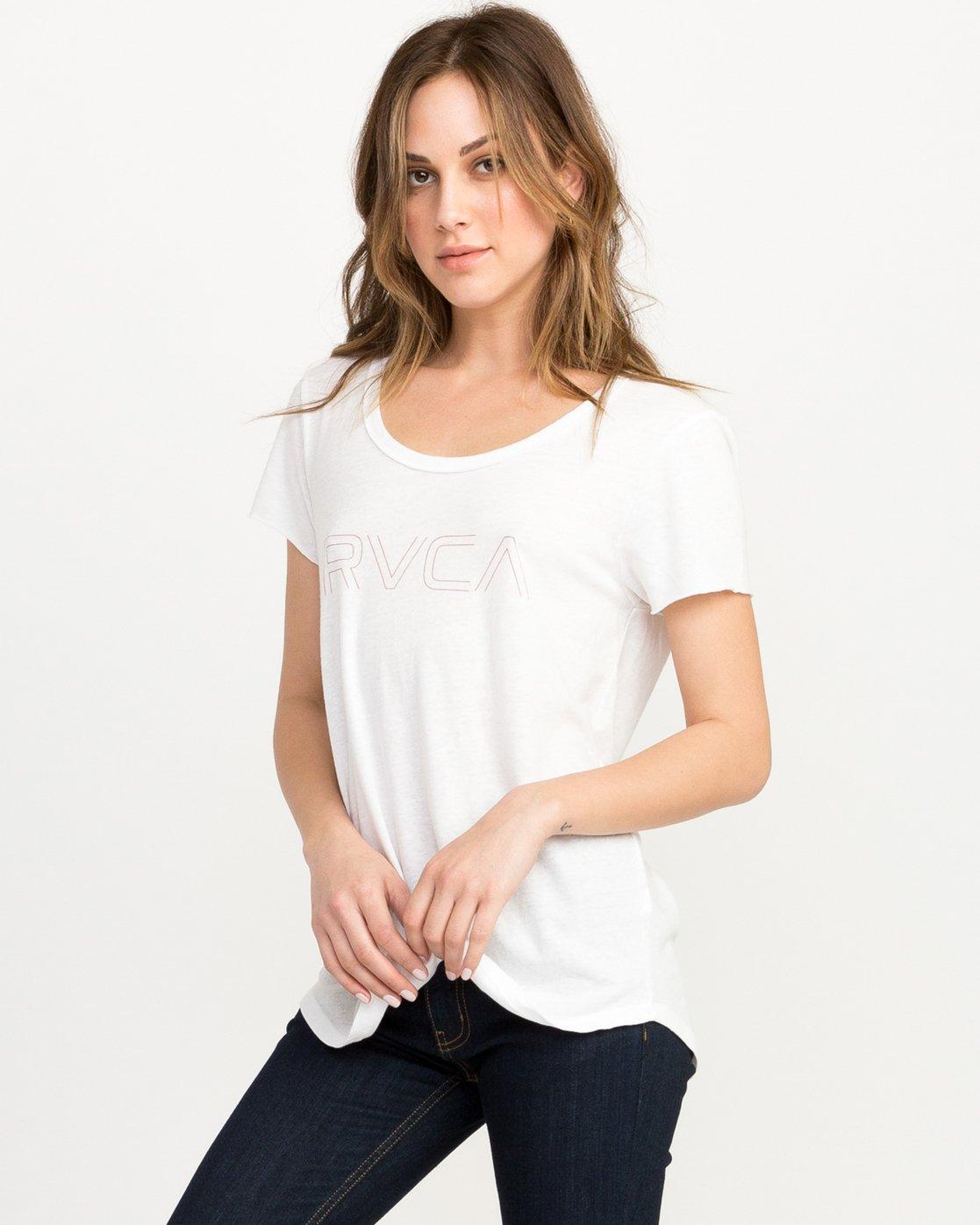 1 Pinner Scoop Neck T-Shirt White W417QRRV RVCA
