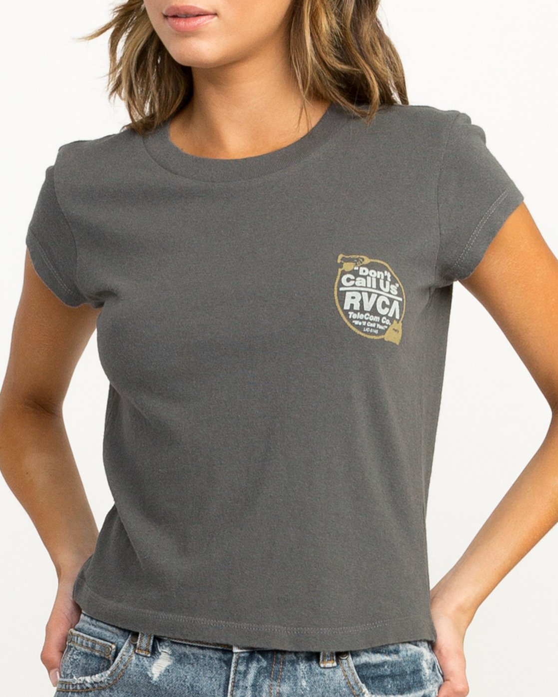 3 Don't Call Us Fitted T-Shirt Grey W419QRDO RVCA