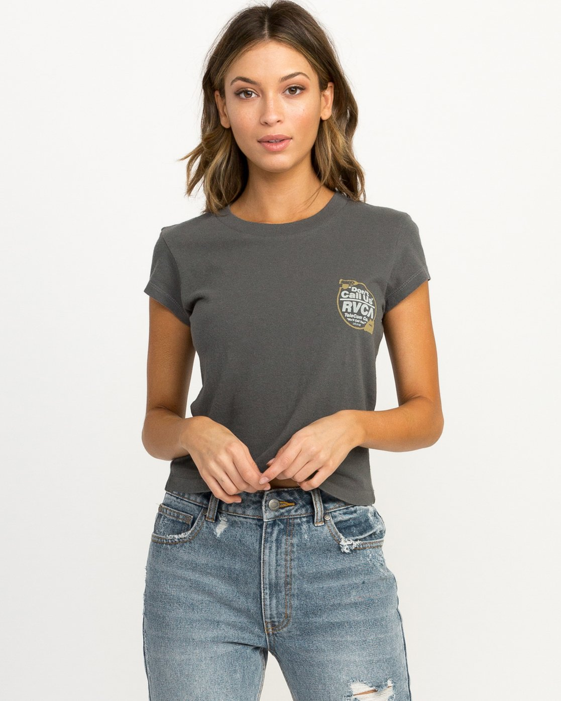 1 Don't Call Us Fitted T-Shirt Grey W419QRDO RVCA