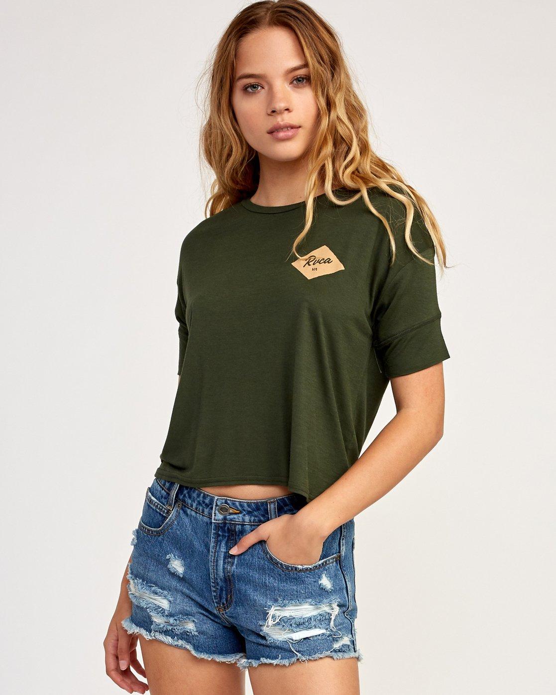 0 Postmark Drape T-Shirt Green W435TRPO RVCA