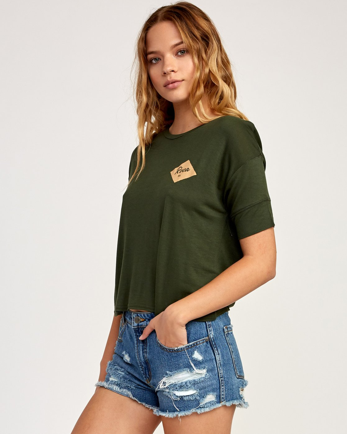 1 Postmark Drape T-Shirt Green W435TRPO RVCA