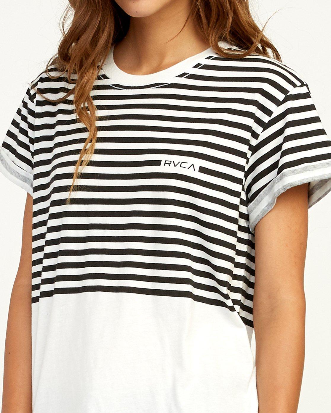3 House Stripe T-Shirt White W436TRHO RVCA