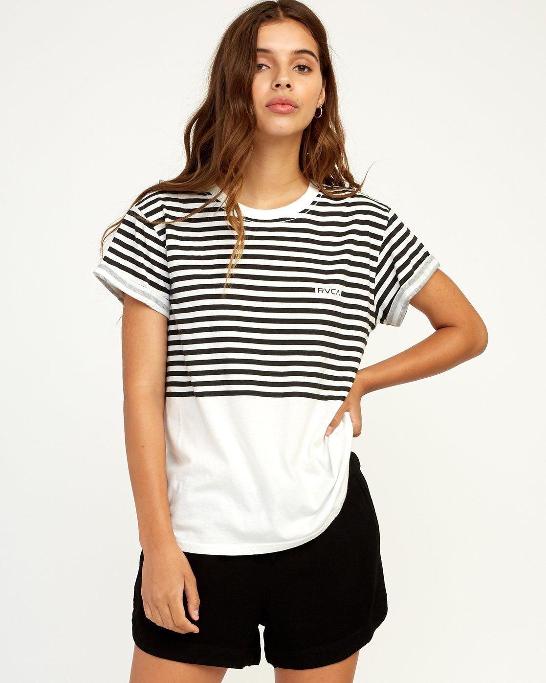 0 House Stripe T-Shirt White W436TRHO RVCA