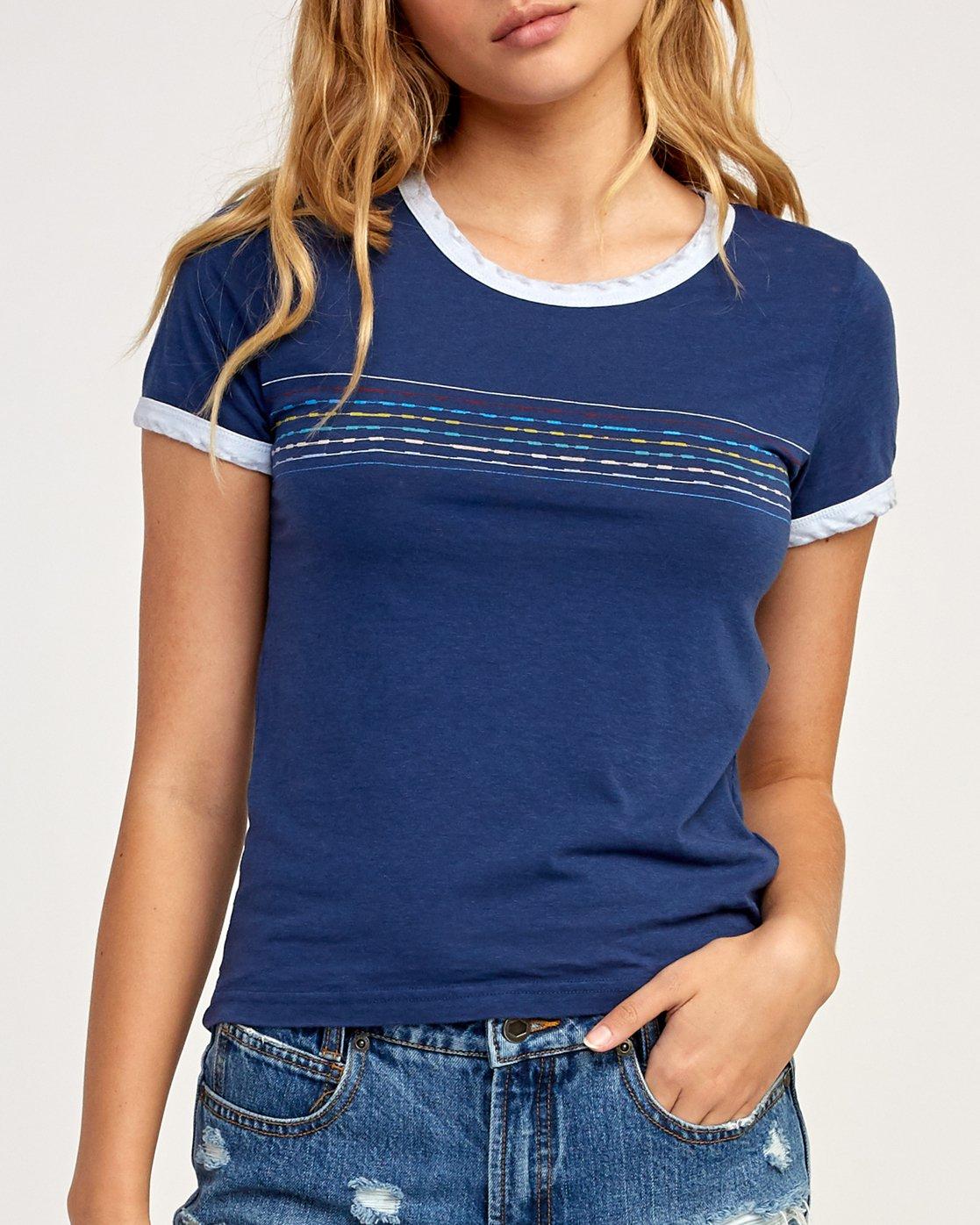 3 Double Vision Ringer T-Shirt Blue W437TRDO RVCA