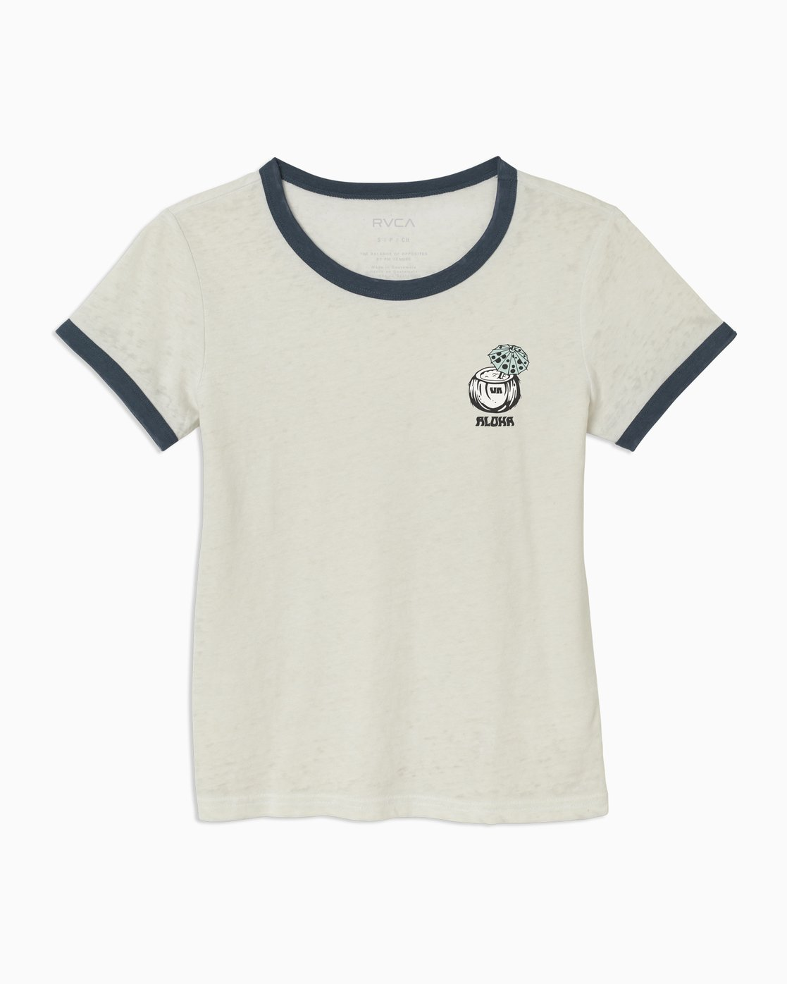 4 Alex Matus Coco Ringer T-Shirt White W437TRMS RVCA