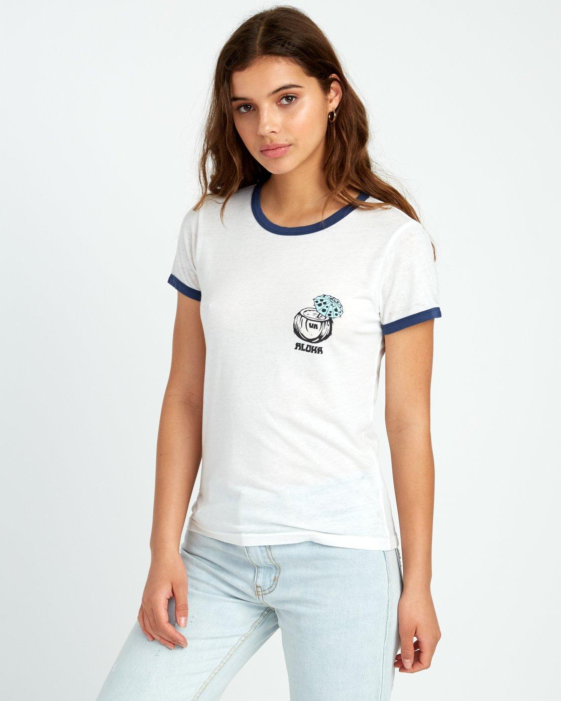 0 Alex Matus Coco Ringer T-Shirt White W437TRMS RVCA