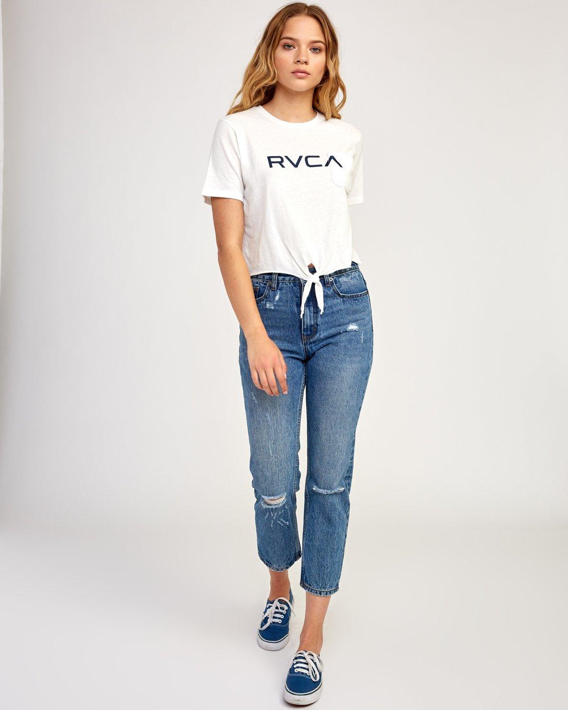 4 Big RVCA Knotted T-Shirt White W438TRBI RVCA