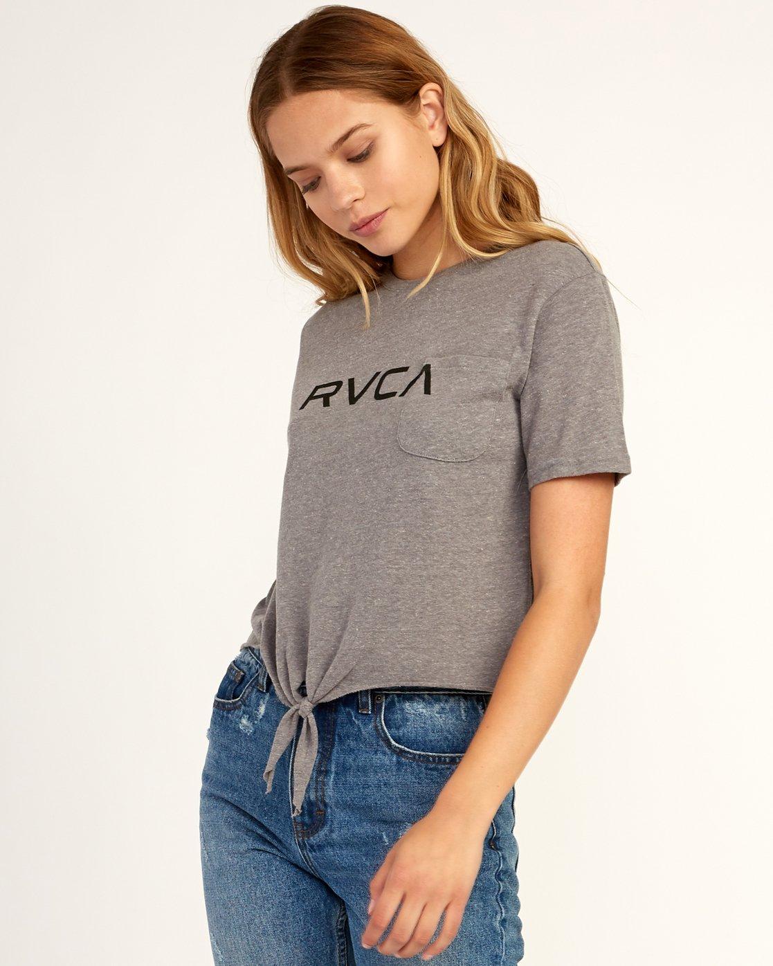 1 Big RVCA Knotted T-Shirt Grey W438TRBI RVCA