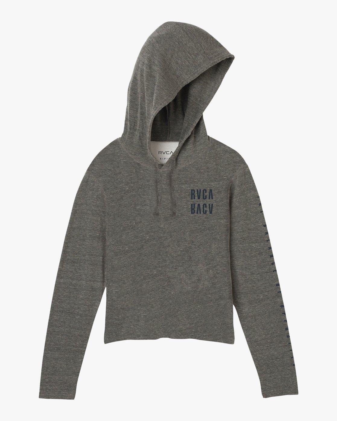 6 Mirror Hooded Long Sleeve Shirt Grey W454SRMI RVCA