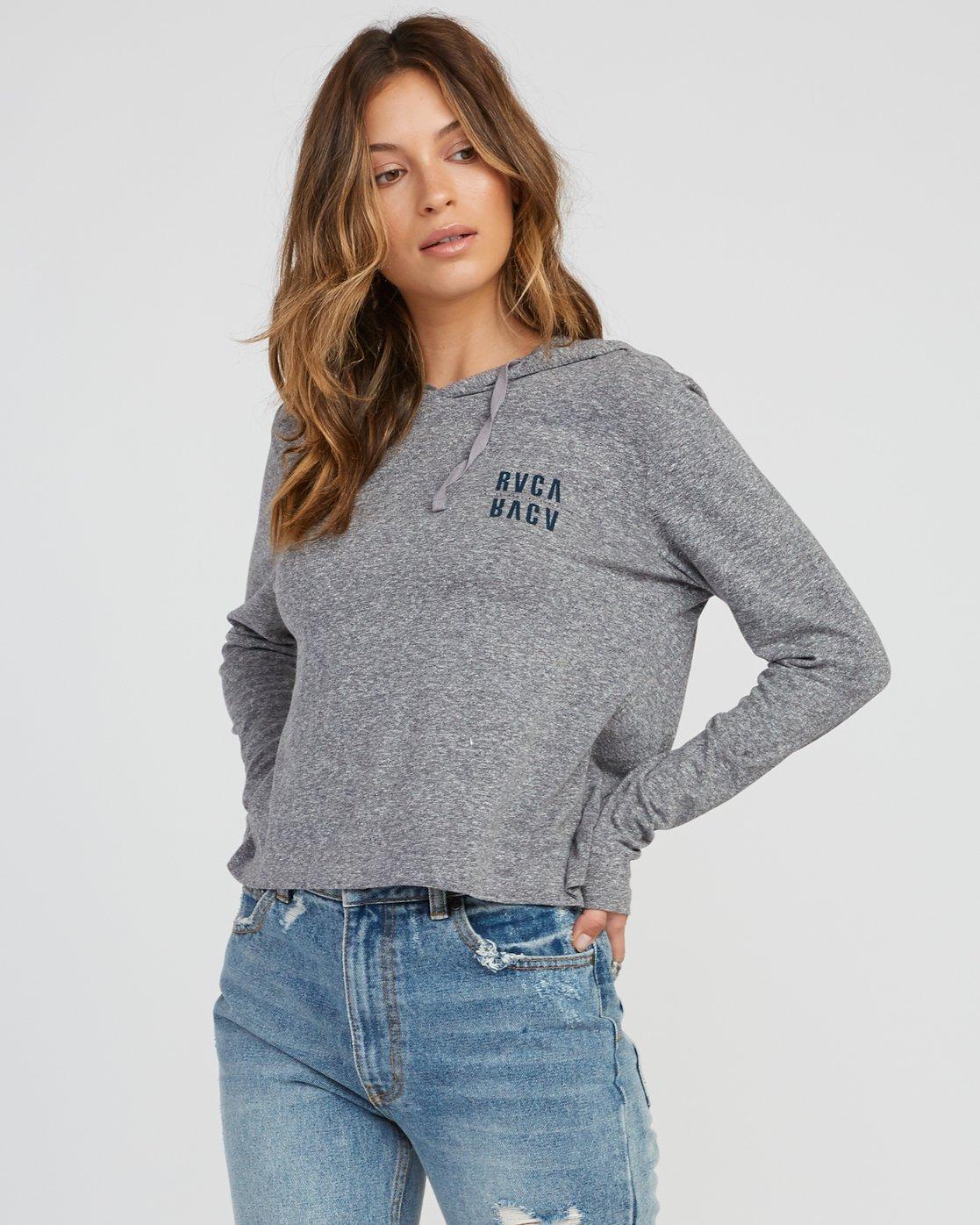 1 Mirror Hooded Long Sleeve Shirt Grey W454SRMI RVCA
