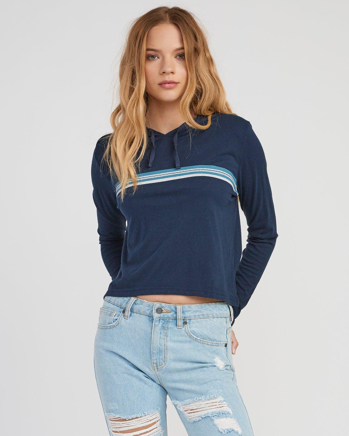 0 VA Stripe Hooded Long Sleeve Shirt  W454SRVA RVCA