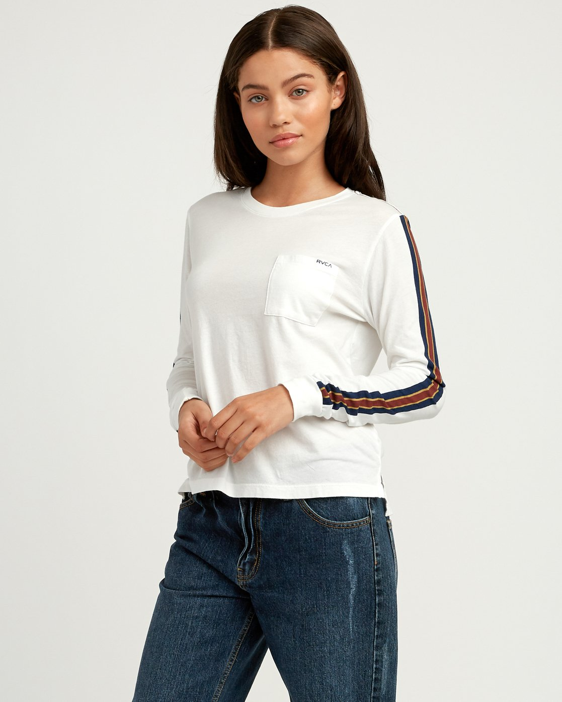 0 Day Sleeves Striped Long Sleeve T-Shirt White W456QRDS RVCA
