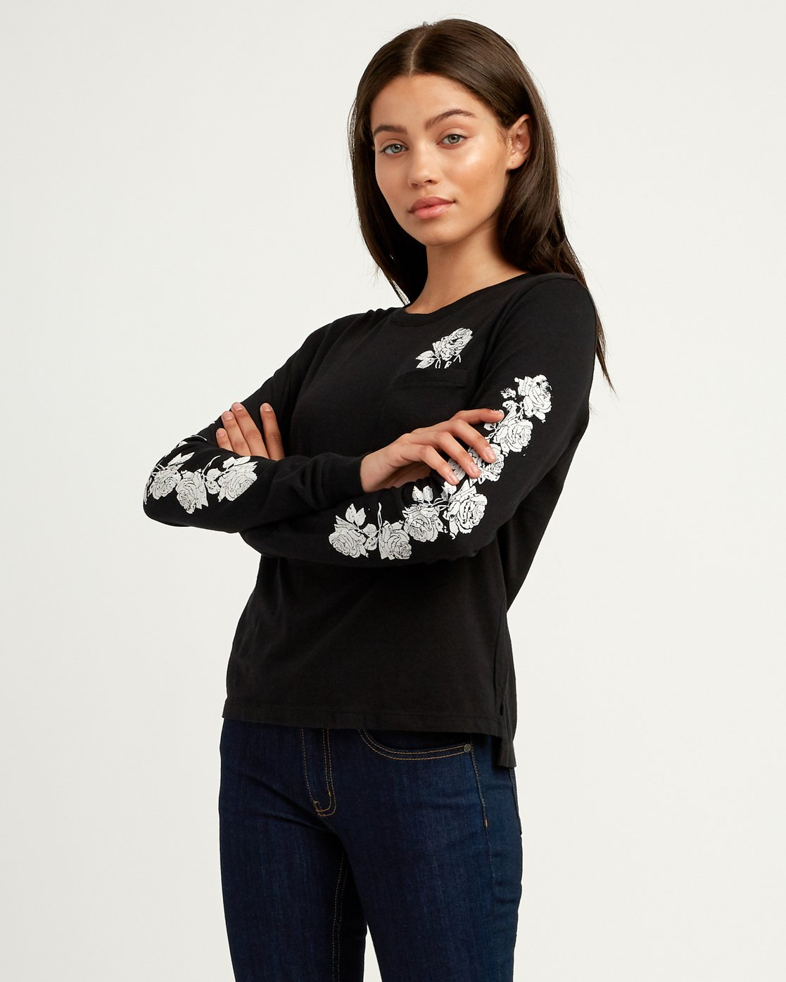 1 Oblow Roses Long Sleeve T-Shirt  W456QROS RVCA