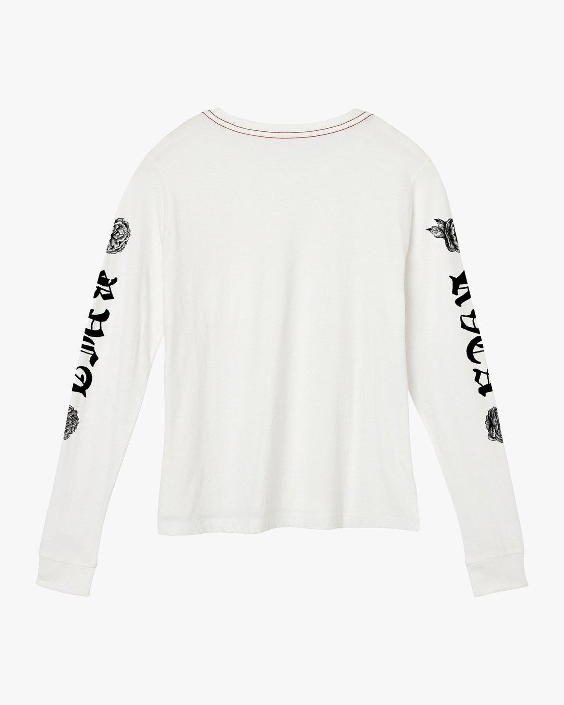 6 JeanJean Rose & Roses Long Sleeve T-Shirt White W456QRRO RVCA