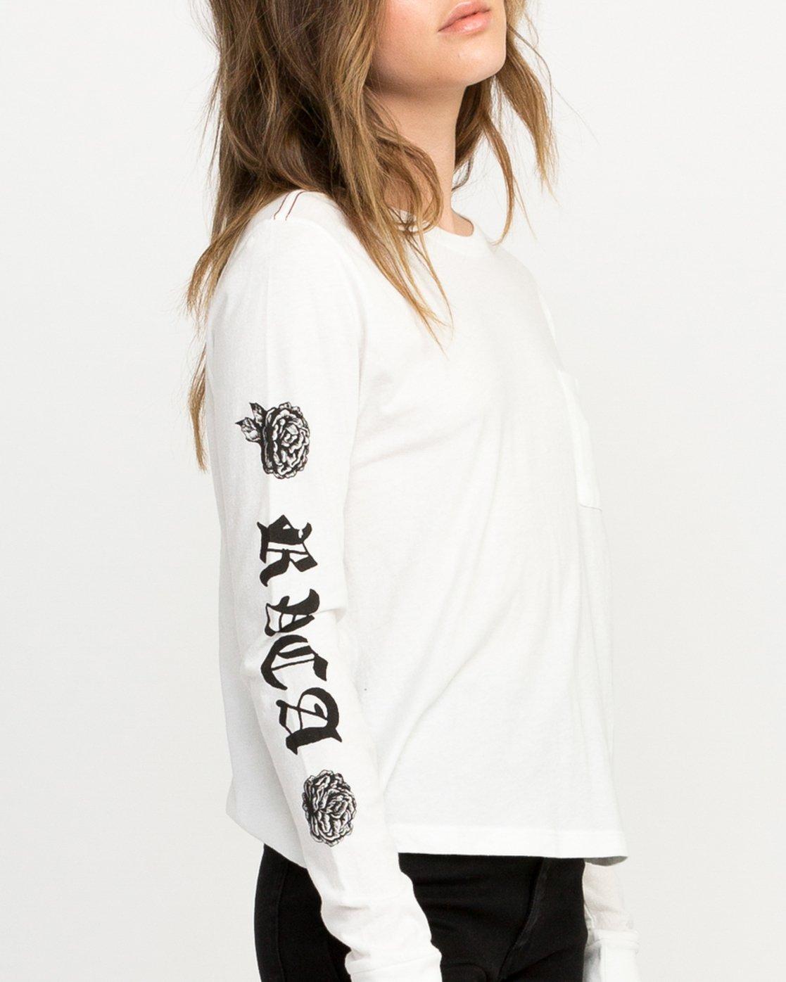 3 JeanJean Rose & Roses Long Sleeve T-Shirt White W456QRRO RVCA