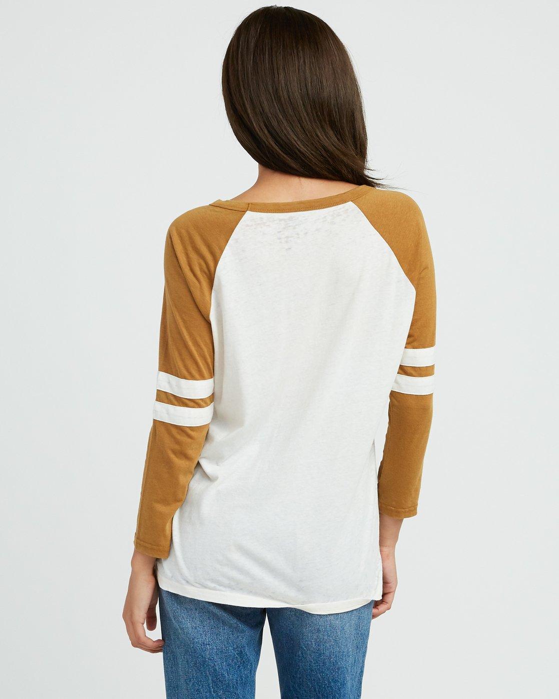 2 Slite Script Burnout Ringer T-Shirt Yellow W457SRSL RVCA