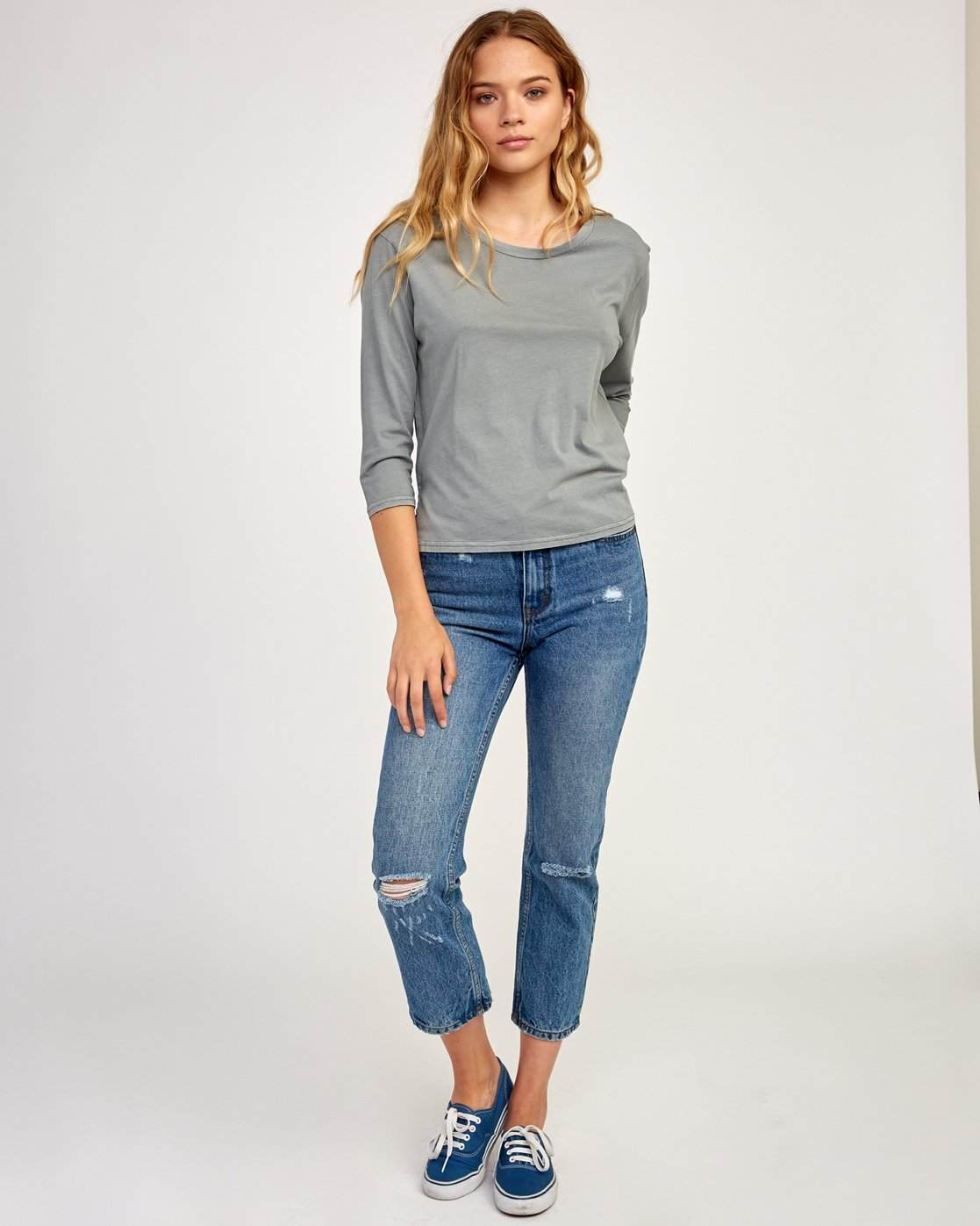 4 Oil And Water Long Sleeve T-Shirt Grey W463TROI RVCA