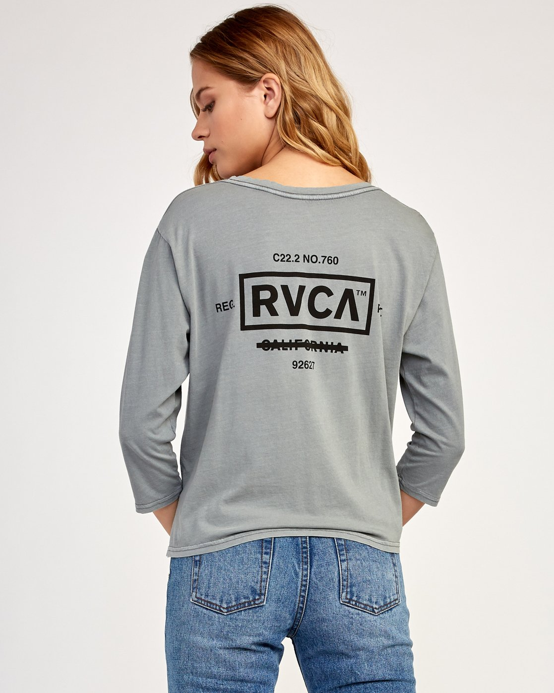 3 Oil And Water Long Sleeve T-Shirt Grey W463TROI RVCA