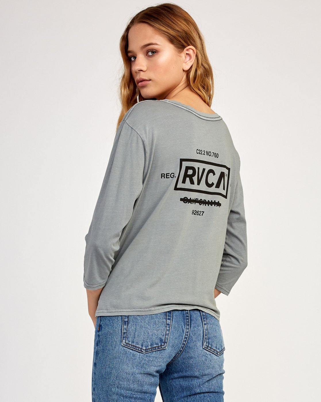 0 Oil And Water Long Sleeve T-Shirt Grey W463TROI RVCA