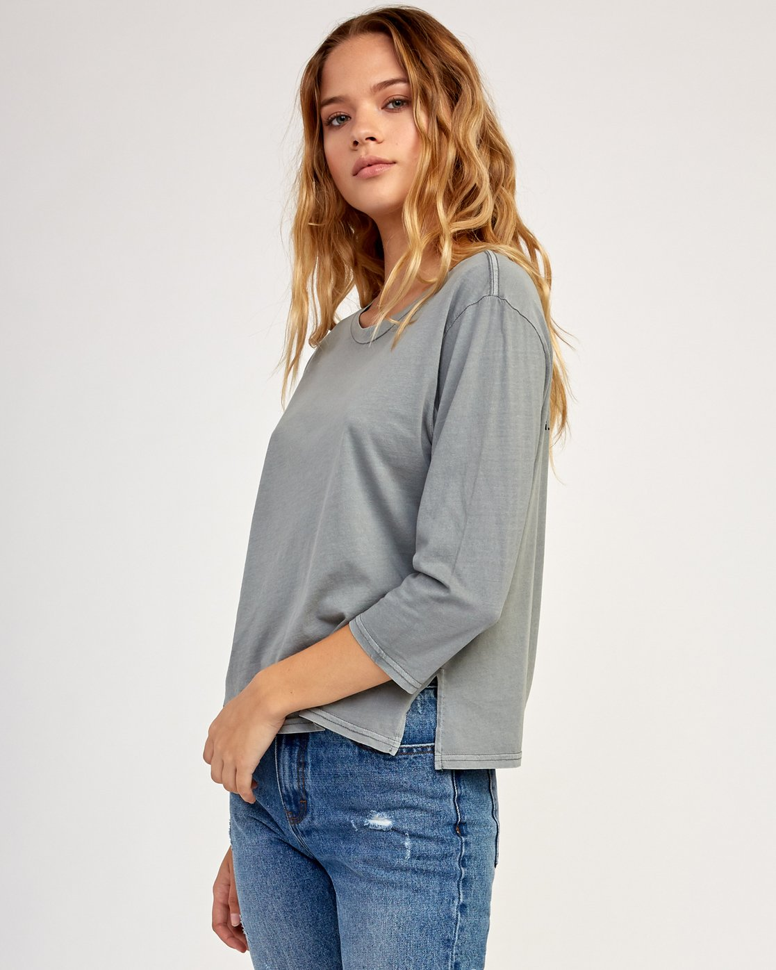 2 Oil And Water Long Sleeve T-Shirt Grey W463TROI RVCA