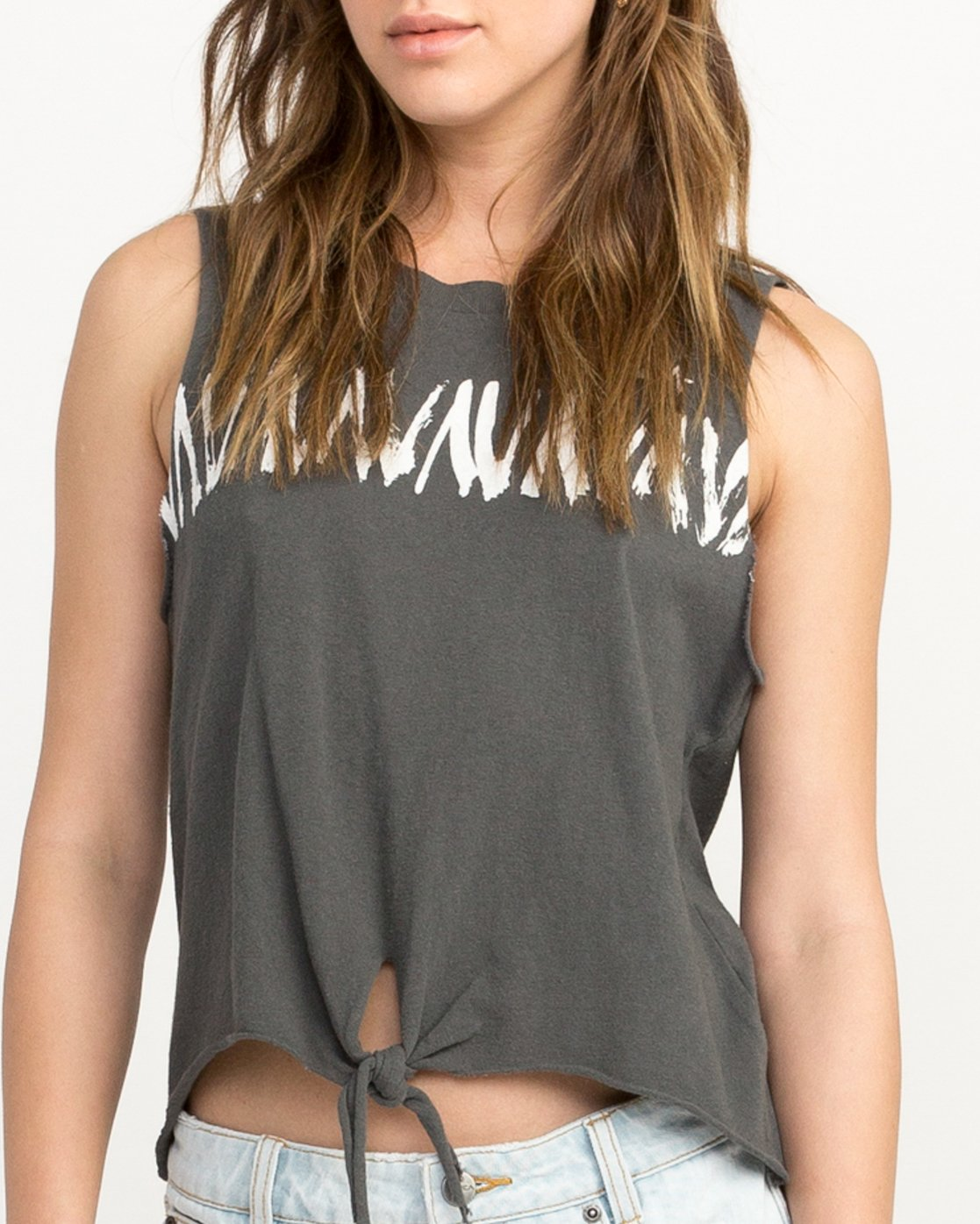 3 Dry Brush Knotted Tank Top Grey W494QRDR RVCA